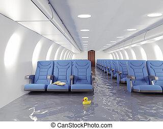 interior, avião, inundação
