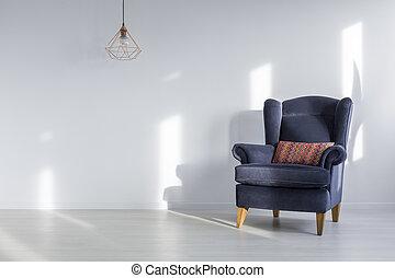 interior, azul, sillón