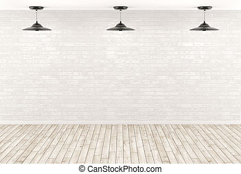 Interior background lamps over the brick wall 3d render