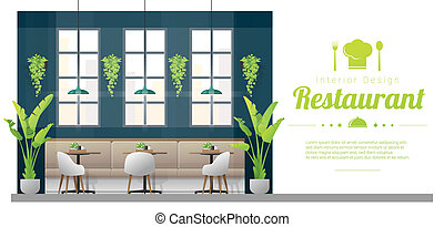 Interior background , modern restaurant with tables and chairs scene 1