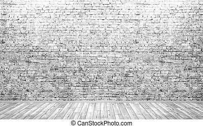 Interior background of room with brick wall and wooden floor 3d render