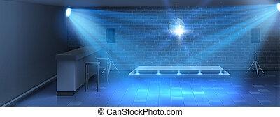 interior background with empty dance floor
