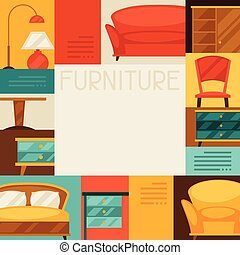 Interior background with furniture in retro style.