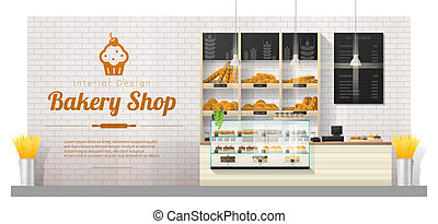 Interior background with modern bakery shop display counter 1