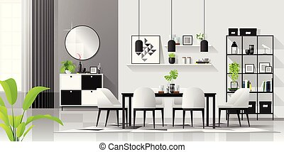 Interior background with modern black and white dining room in scandinavian style
