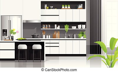 Interior background with modern black and white kitchen 1
