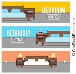 interior, banners., desenho, quarto