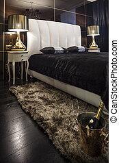 Interior bedroom in dark colors