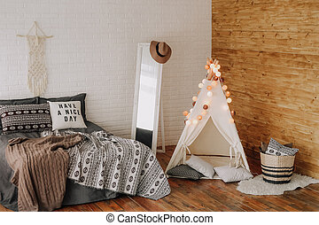 interior bedroom with bed boho style decor
