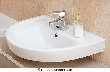 interior, blanco, fregadero cuarto baño