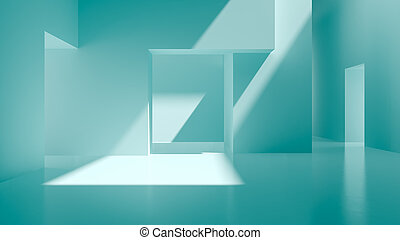 Interior blue abstract empty room 3D rendering