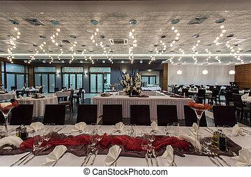 interior, bosque, hotel, -, restaurante