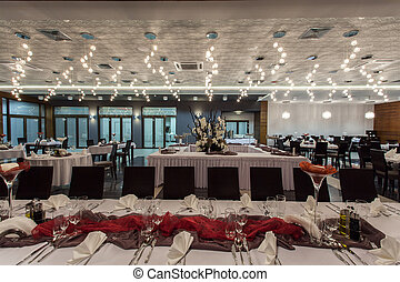 interior, bosque, hotel, -, restaurante