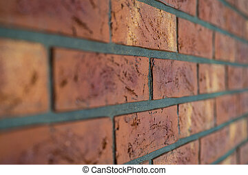 Interior brick wall close up with shallow depth of field