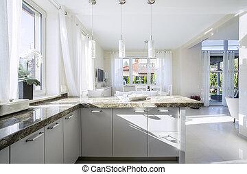 interior, brillante, cocina