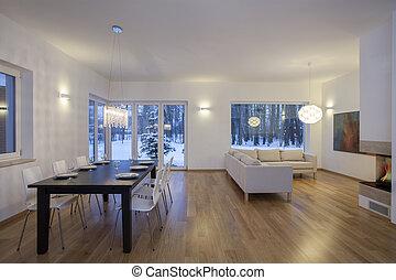 interior, brillante, diseñadores, -, habitación