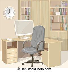 interior, brillante, oficinacomercial