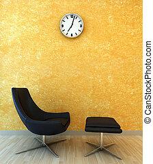 interior, cadeira, cena, relaxe