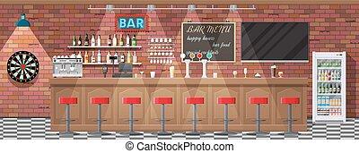 interior, café, o, bar., bar
