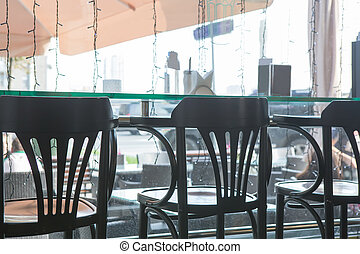 Interior cafe with bar stools