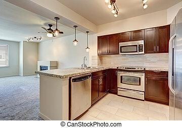 interior, caoba, moderno, cabinets., cocina