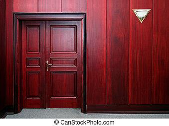 interior, caoba, puerta, lujo