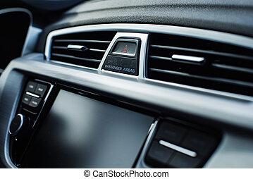 interior carro, com, raso, profundidade campo