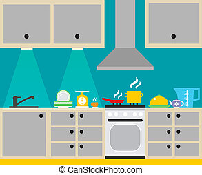 interior, cartaz, cozinha