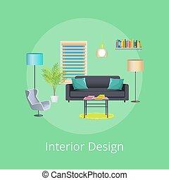 interior, cartaz, projeto abstrato, sala
