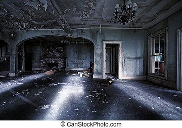 interior, casa, abandonado