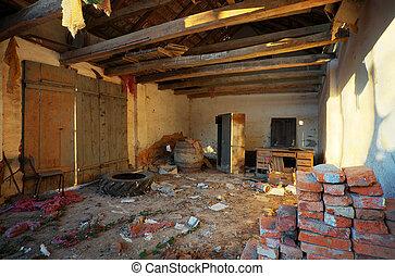 interior, casa, arruinado
