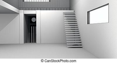 interior, casa, concreto