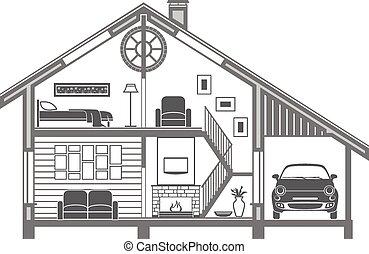 interior, casa, silueta