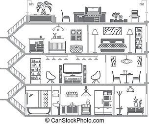 interior, casa, vetorial, ilustração, silhouette.