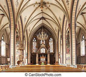 interior, católico, iglesia