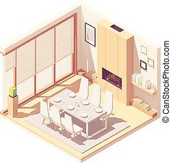 interior, cenar, isométrico, vector, habitación