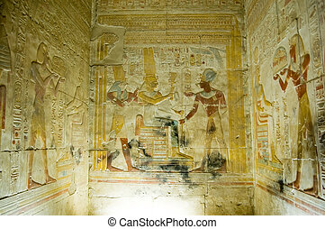Interior Chapel, Temple of Abydos - View of a chapel at the...