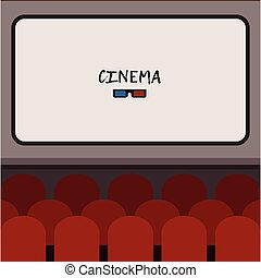 Interior cinema hall illustration with rows of comfortable red sits in front of screen with place for text. Movie premiere poster. Flat vector