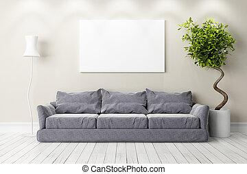 interior., clair, moderne, render, 3d