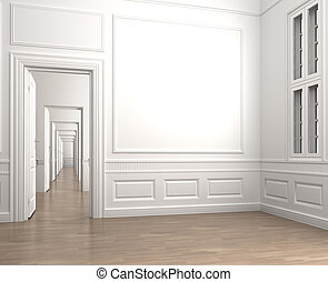 Interior scene of an emprty room corner with a closed door and a window with clipping path for adding exterior scene