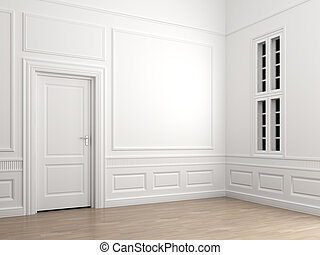 interior classic room corner empty - Interior scene of an ...