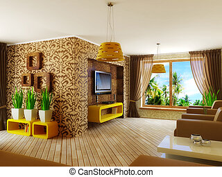 interior - modern interior room with pattern on the wall and...