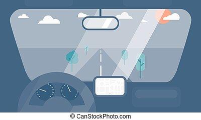 interior, coche, dentro