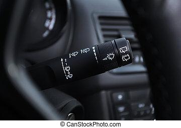 interior, coche, interruptor, limpiaparabrisas