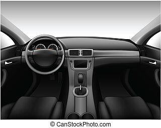 interior, coche, -, tablero de instrumentos