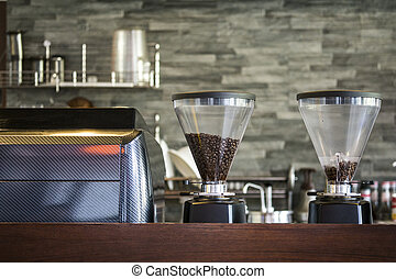 Interior coffee shop with coffee machine