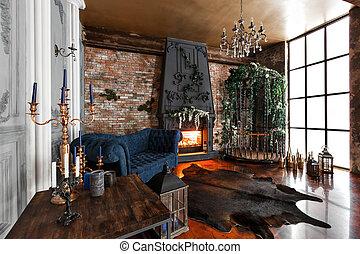 Azul sala de estar janelas muitos sofa wih grande - Chimeneas de peles ...
