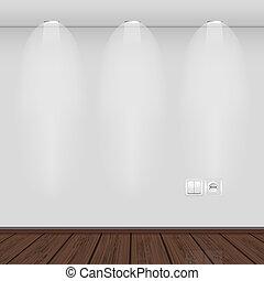 interior, con, vacío, pared, y, parquet.vector,...