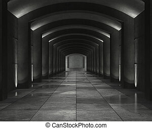 grunge background of an interior concrete vault with interesting spot lighting