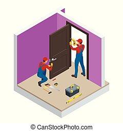 interior., construcción, room., taladro, vector, nuevo, eléctrico, instalación, puerta, industria, handymans, edificio, blanco, mano, isométrico, ilustración, hogar